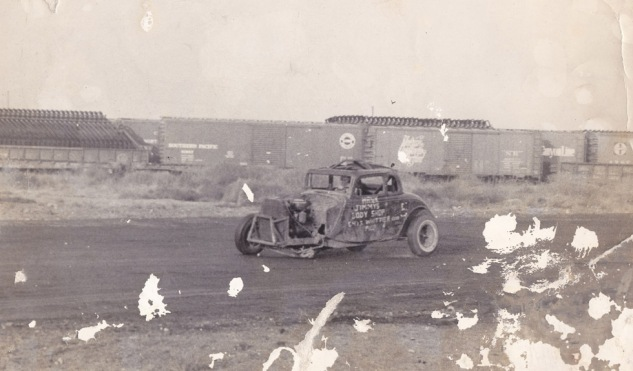 Hank on three wheels at the battlefield that was known as Slauson Speedway, mid 1950s