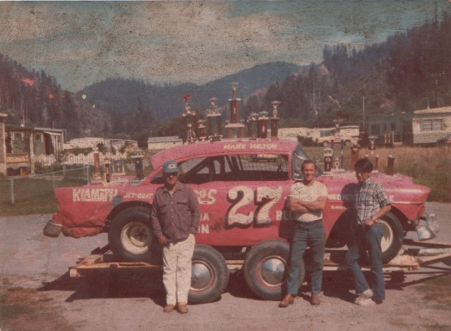 The memorable #27 red Chevy raced and won at Redwood Acres from 1972-1975, on the trailer at the Klamath Subdivision