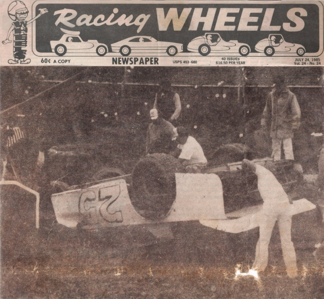 "From Racing Wheels July 24, 1985:  ""Angelo Marcelli startout out hot laps with a bang. His throttle stuck wide open going into turn one.  He climbed out unhurt.  His crew worked on the damaged car throughout the night and he came back the next night to win his heat race, place third in the B Main, tranferred to the A Main where he finished 8th in the North Coast Dirt Track Classic at Redwood Acres Speedway in Eureka, CA."""