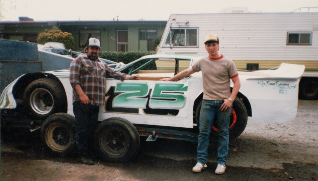 Wedge dirt car for the clay - Angelo with son Mike, 16 years old.