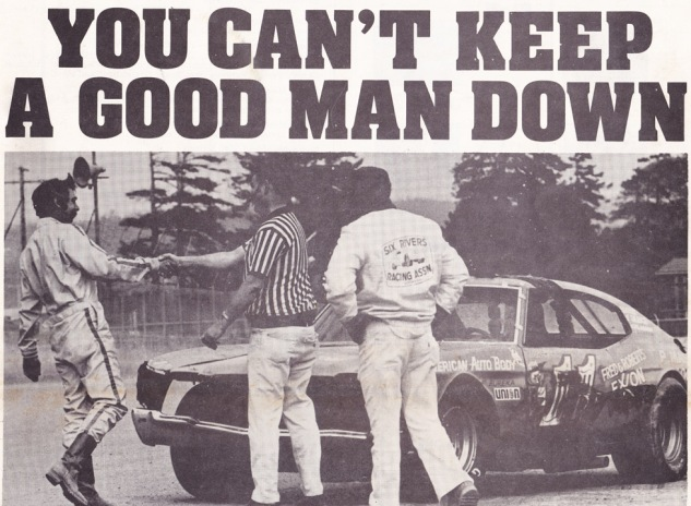 1976 Stock Report cover after A-Main (note Don's ever-present boots he wore instead of driving shoes)