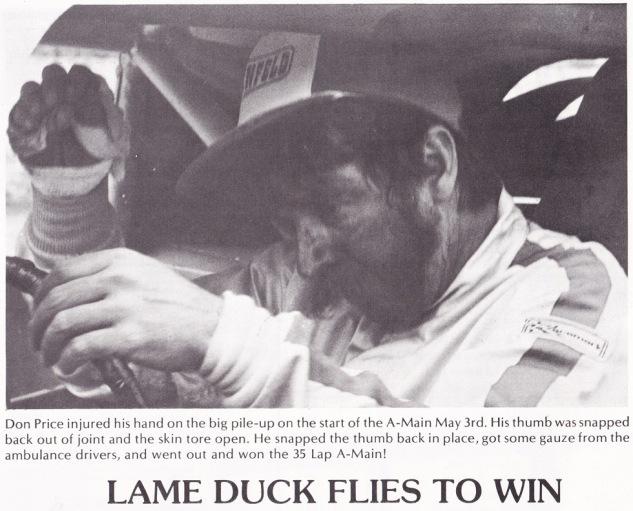 1981 May A Main Win injury photo