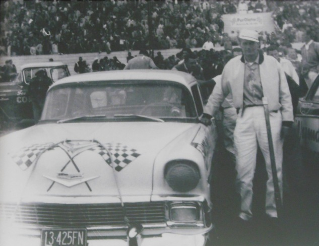 Harold Hardesty's first NASCAR, a '56 Chevy he first drove at the Portland Speedway May 26, 1956, finishing 6th (with car owner on right)