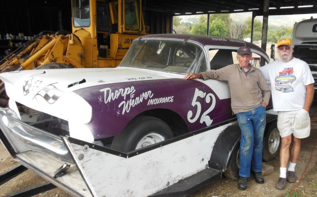 "Harold and former Redwood Acres driver Don Price and a dirt car, one of the ""Early Lates"","