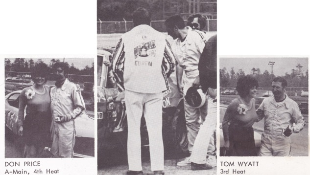 Price (left) and Wyatt (right) after wins that day, and (meeting at the flag stand (center).