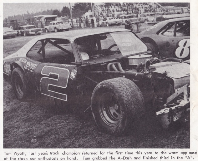 The July 1, 1977 Stock Report noted Tom's first race at Redwood Acres following his championship year was met with enthusiasm from the local fans.