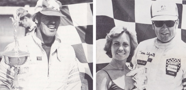 Walker (left) and Wyatt (right) after wins at the 1981 North Coast Dirt Track Classic