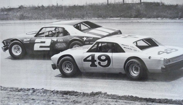 "#2m Tom Wyatt racing #49 Ken Wallan at Redwood Acres -  Tom: ""He was a gentleman.  He was like Jimmy - didn't go home with a mark on his car."""