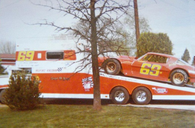 "The #69 Camaro and custom trailer owned by Phil Durnford.  Tom:  ""He was into grandstanding"""