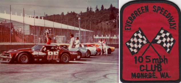 "Evergreen 1979: the lineup of cars in the ""105 mph Club"" (left) and the patch given to the drivers (right)"