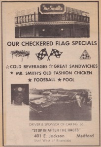 1977 race program ad for Mr. Smith's Bar & Grill