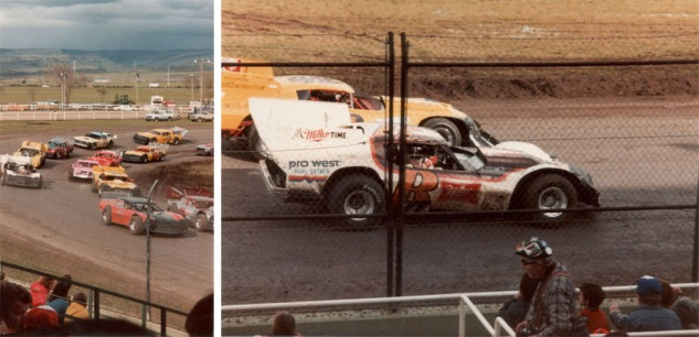 Chico 1982: Dane on the high side in turn four (top left) and with the winner's trophy (below).