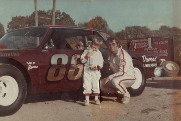 #86 Chevelle with son Tommy and trophy won in Chico, early 70s